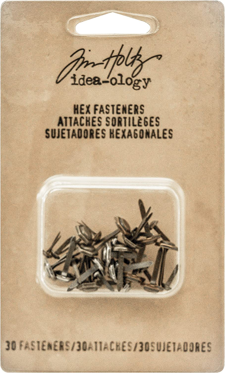 1//4 Inch and 1//2 Inch Designs Brass and Copper Tim Holtz Idea-ology Hex Fasteners 30//Pack Antiqued Nickel TH93268