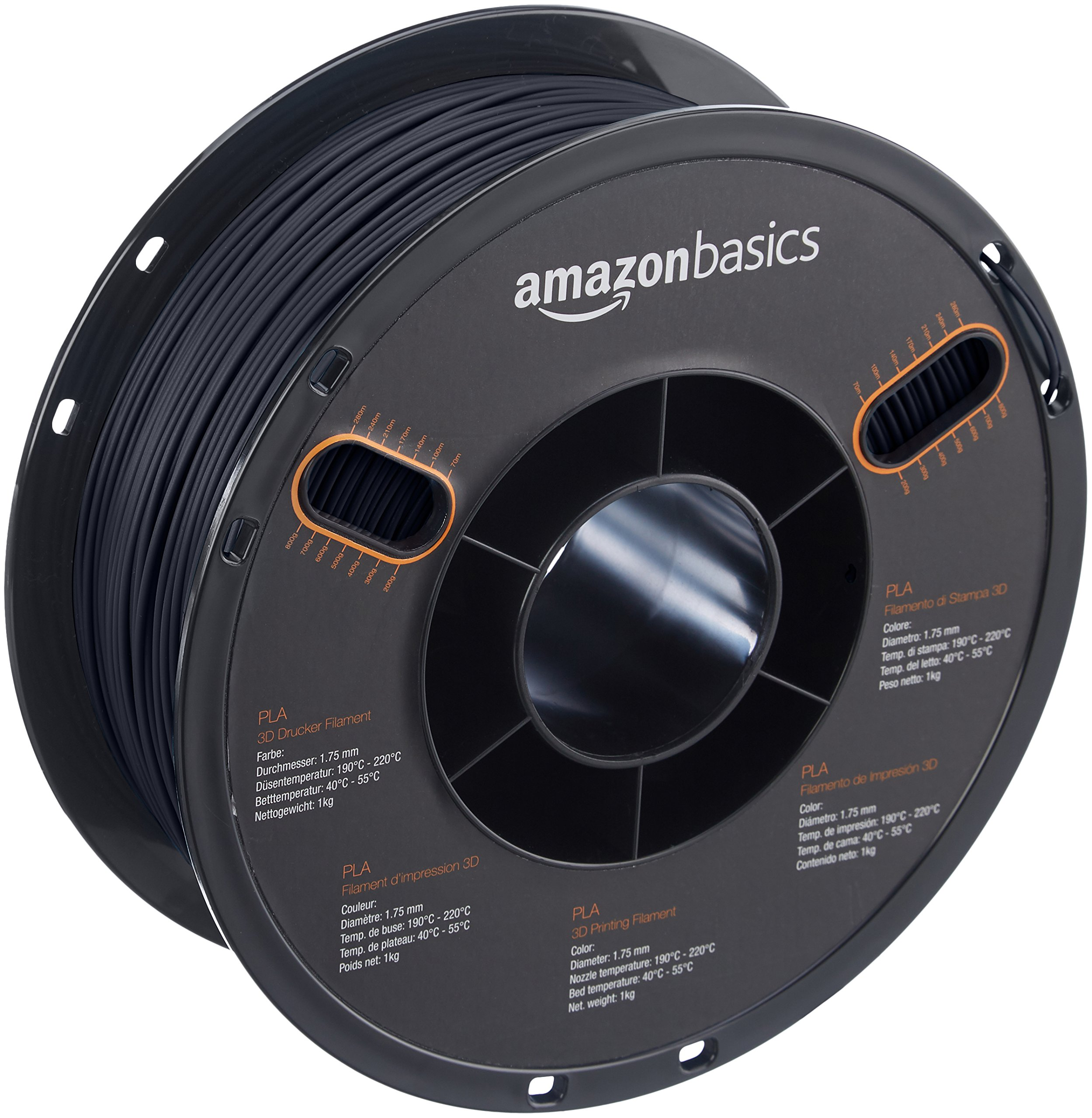 AmazonBasics PLA 3D Printer Filament, 1.75mm, Black, 1 kg Spool