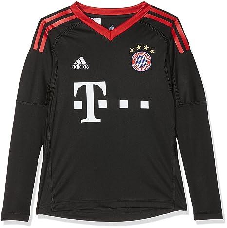 79bedb36282365 adidas Kinder FC Bayern Torwart Heim Langarm-Trikot Black FCB True Red White
