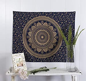 Popular Handicrafts Hippie Mandala Ombre Maditation Poster Tapestry Wall Hanging - Indian Bohemian Psychedelic Dorm Room Decor Mystic Blue Gold Beach Blanket 30 x 40 Inch