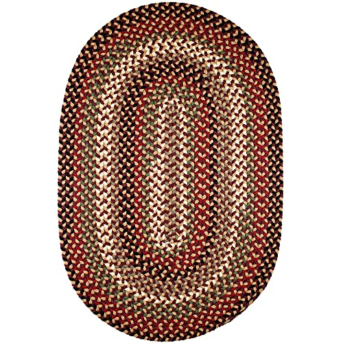 Super Area Rugs Santa Maria Braided Rug Indoor Outdoor Rug Washable Reversible Red Patio Deck Carpet, 4 X 6 Oval