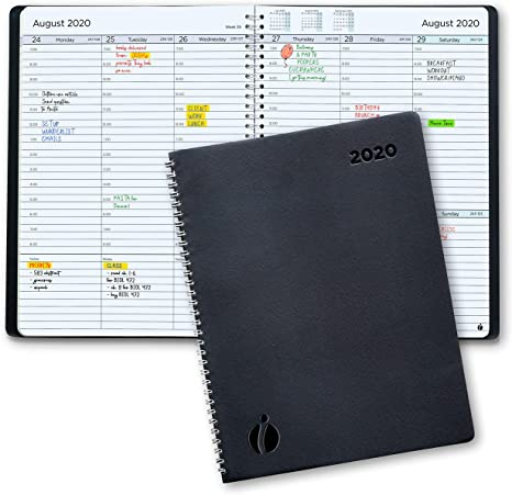 2020 Weekly Planner and Monthly Planner – Hourly Appointment Book 2020 – Softcover, Twin-Wire Binding – Simple Design Inspires Productivity – 6.5x8.5