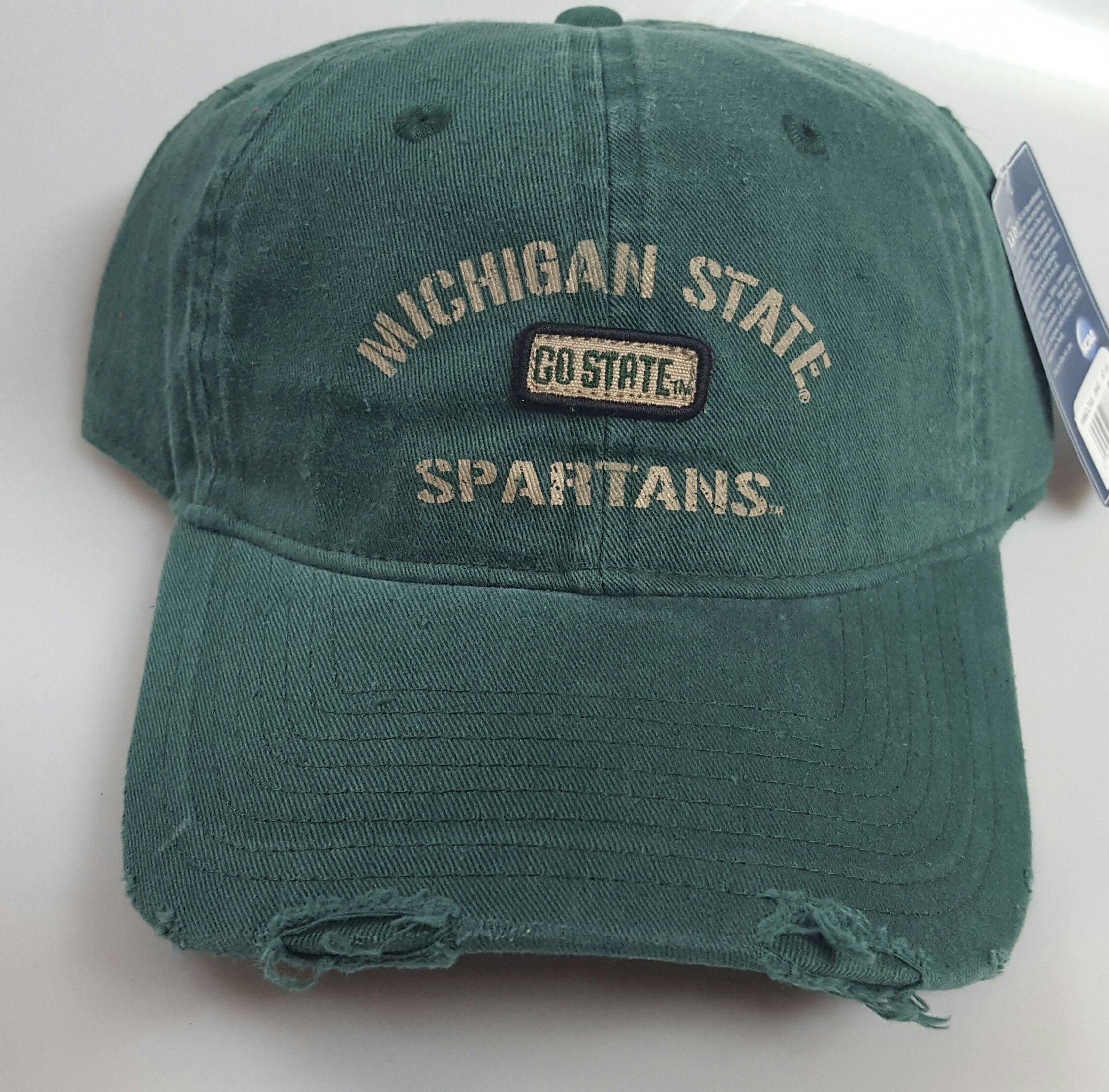 NCAA New Michigan State Spartans Embroidered Adjustable Buckle Pre-Distressed Cap