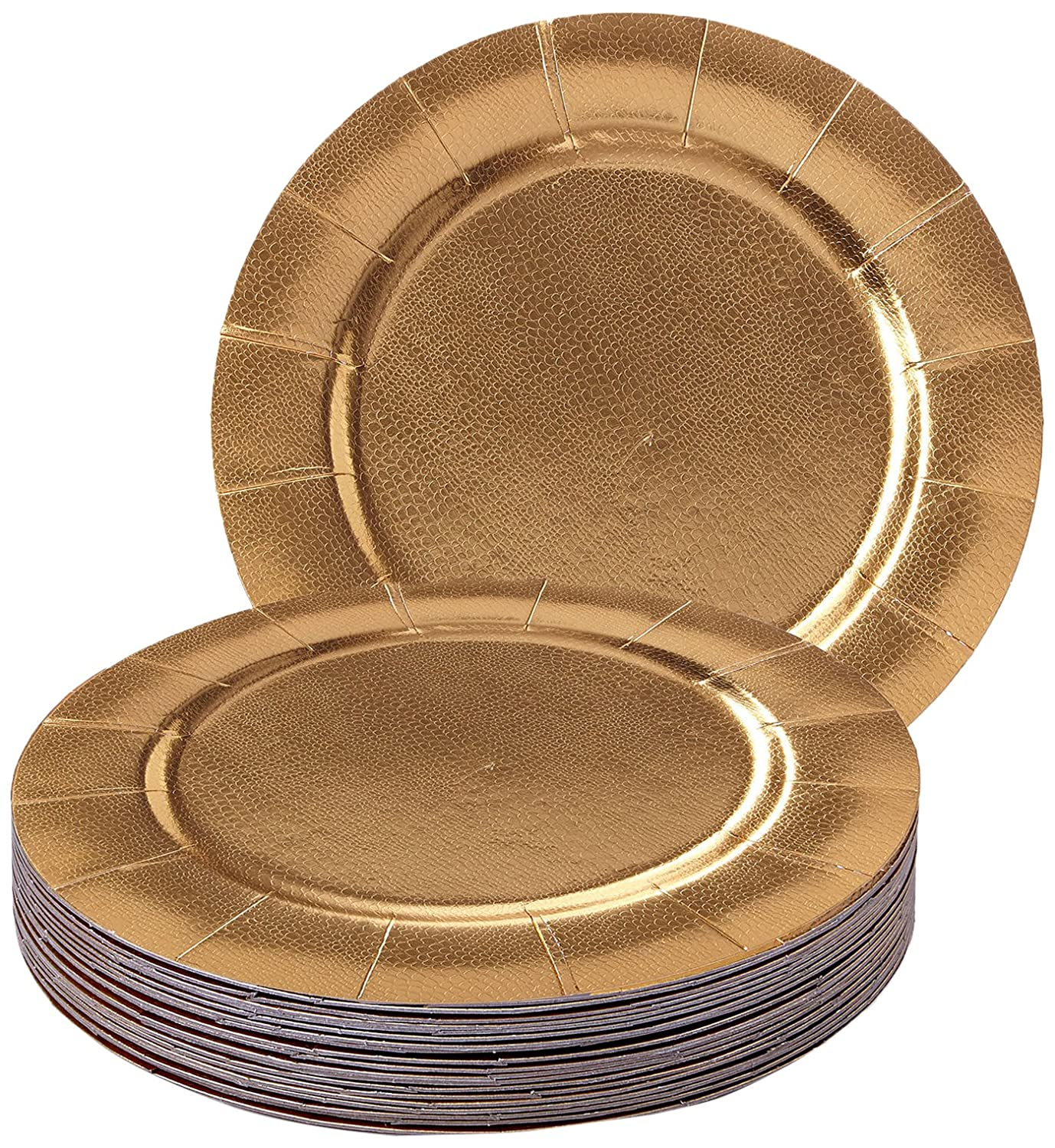 DISPOSABLE ROUND CHARGER PLATES - 20pc (Metallic/Gold) 1824-SiS