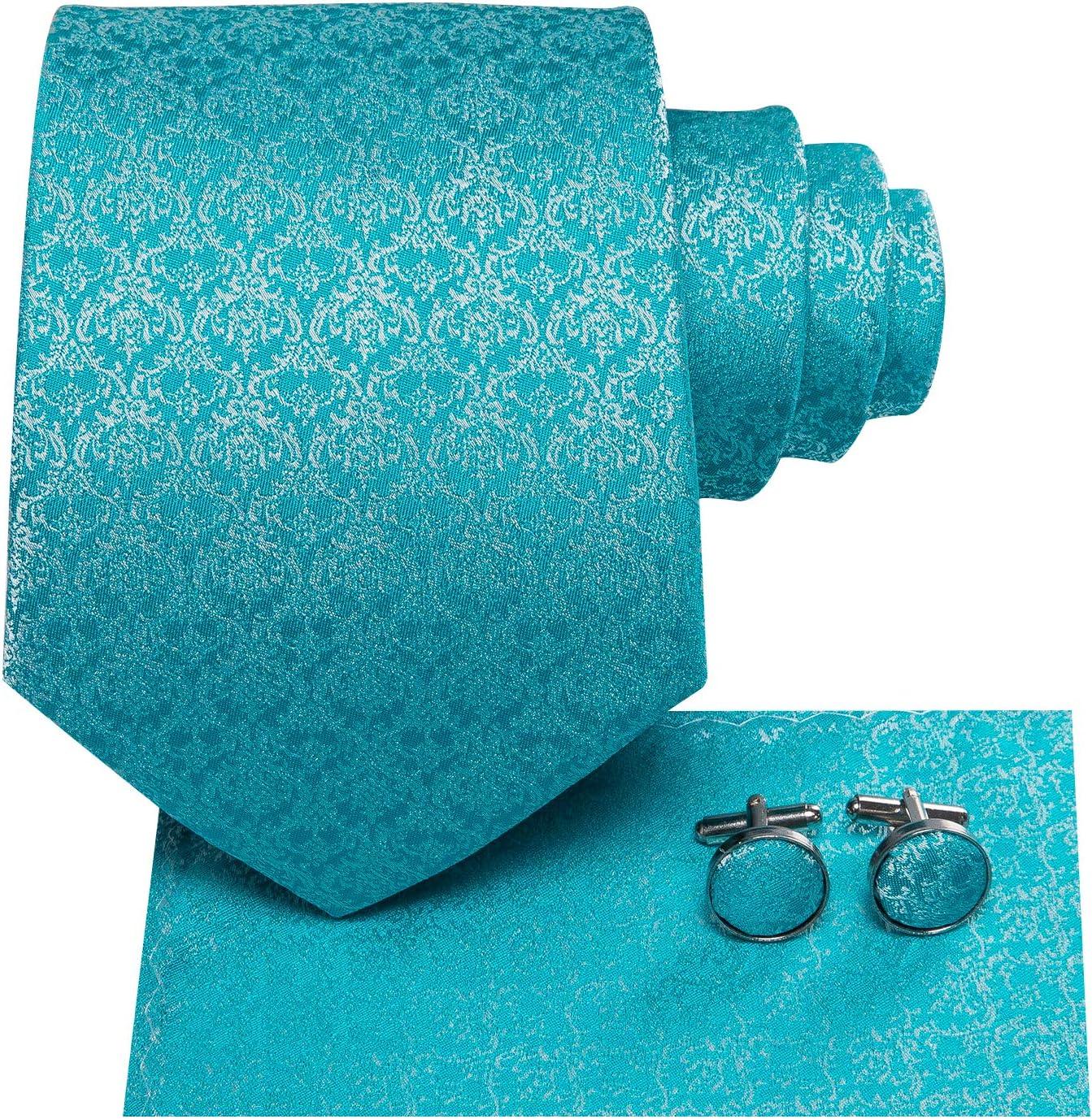 color liso Hi-Tie caja de regalo tejido jacquard Juego de corbata y gemelos cuadrados de sat/én
