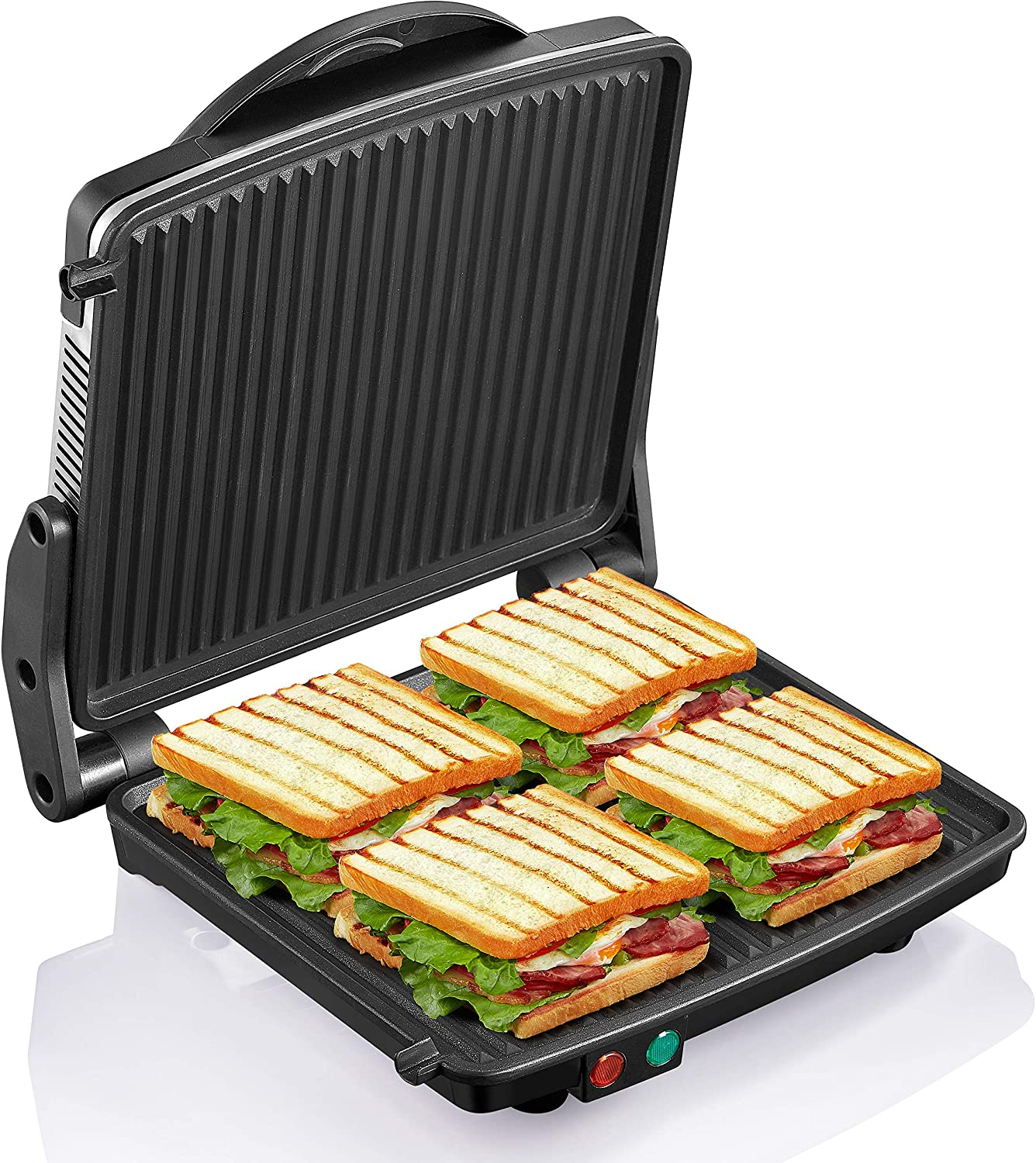 Amazon Com Panini Press Grill Yabano Gourmet Sandwich Maker Non Stick Coated Plates 11 X 9 8 Opens 180 Degrees To Fit Any Type Or Size Of Food Stainless Steel Surface And Removable Drip Tray