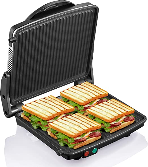 Large Sandwich Press Maker Grill Electric Panini Cooking Machine 4 Sandwhiches