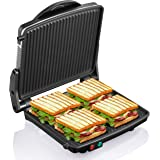 "Panini Press Grill, Yabano Gourmet Sandwich Maker Non-Stick Coated Plates 11"" x 9.8"", Opens 180 Degrees to Fit Any Type…"