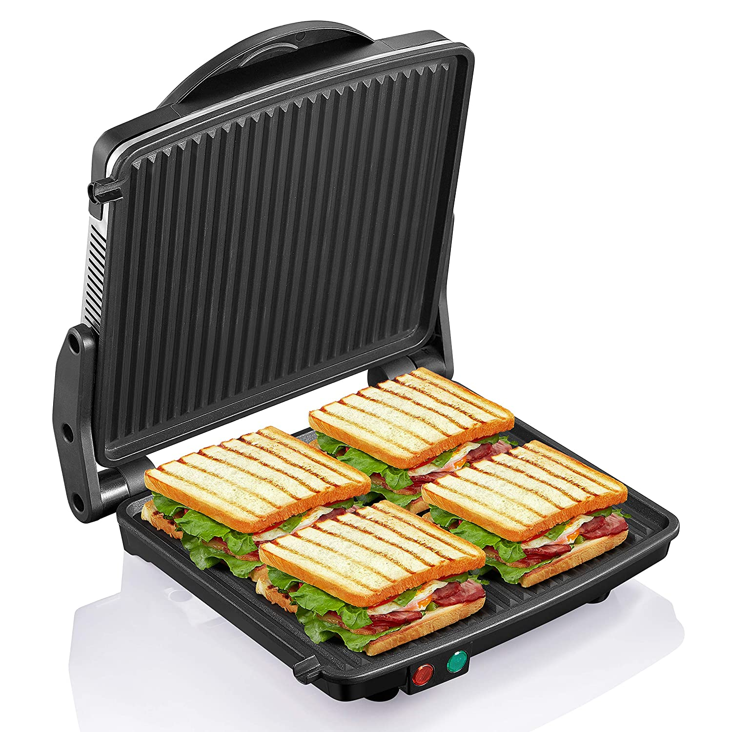 "Panini Press Grill, Yabano Gourmet Sandwich Maker Non-Stick Coated Plates 11"" x 9.8"", Opens 180 Degrees to Fit Any Type or Size of Food, Stainless Steel Surface and Removable Drip Tray, 4 Slice"