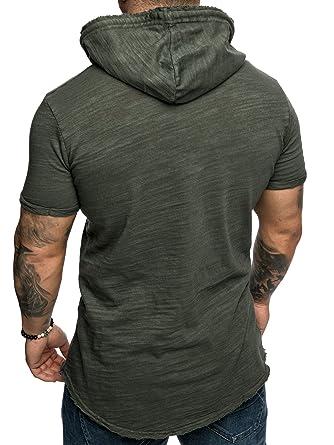 Amaci Sons Oversize Vintage Verwaschen Herren Kurzarm Hoodie Kapuzen Shirt  4048  Amazon.de  Bekleidung ec867c5340