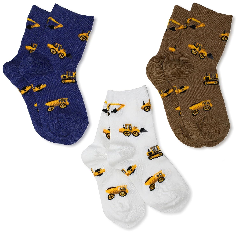 Jefferies Socks Little Boys' Construction Triple Treat Socks  (Pack of 3) Jefferies Socks Children' s Apparel 1112