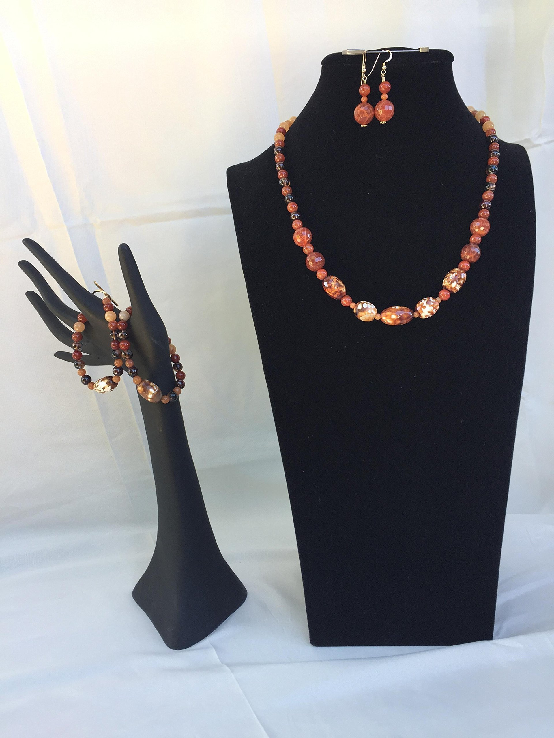 Beautiful handmade jewelry set with a necklace, two bracelets and matching dangle earrings. Carnelian and mixed gemstone. One of a kind