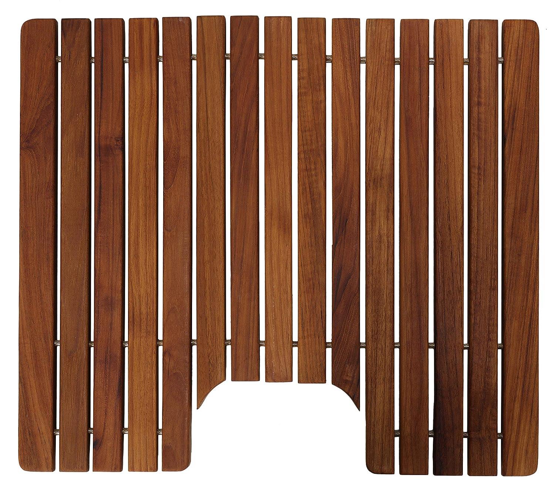 Bare Decor Fuji String Spa Shower Mat in Solid Teak Wood Oiled Finish XL Square 30 x 30 BARE-WF2134