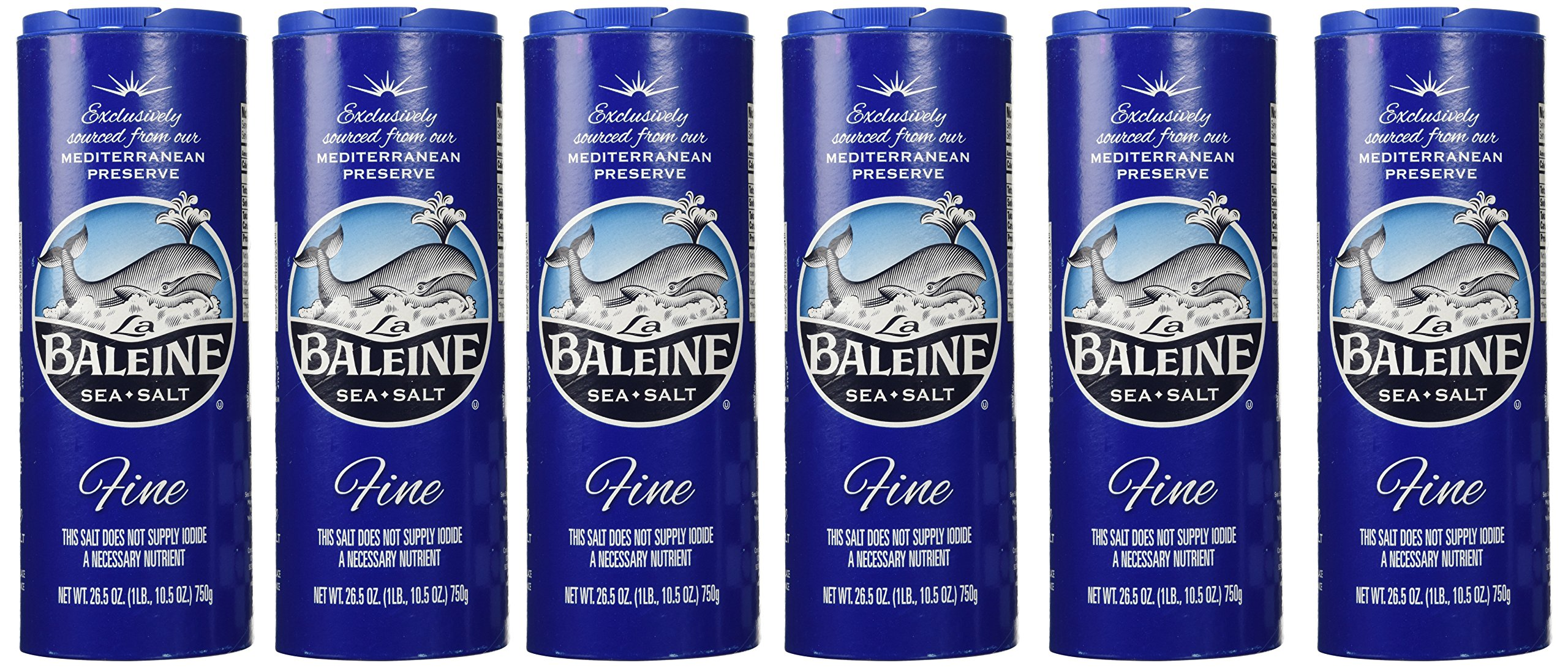 La Baleine Sea Salt Fine Crystals - Canister, 26.5-Ounce Containers (Pack of 6)
