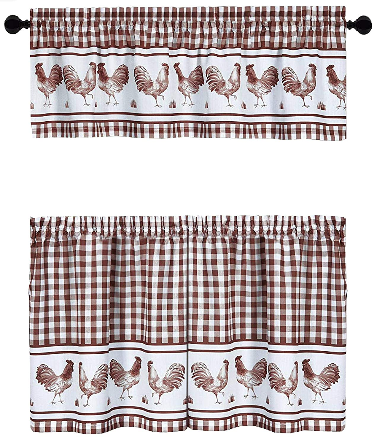 GoodGram Country Home Plaid Rooster Kitchen Curtain Tier & Valance Set - Assorted Colors & Sizes (36 in. Long, Burgundy)