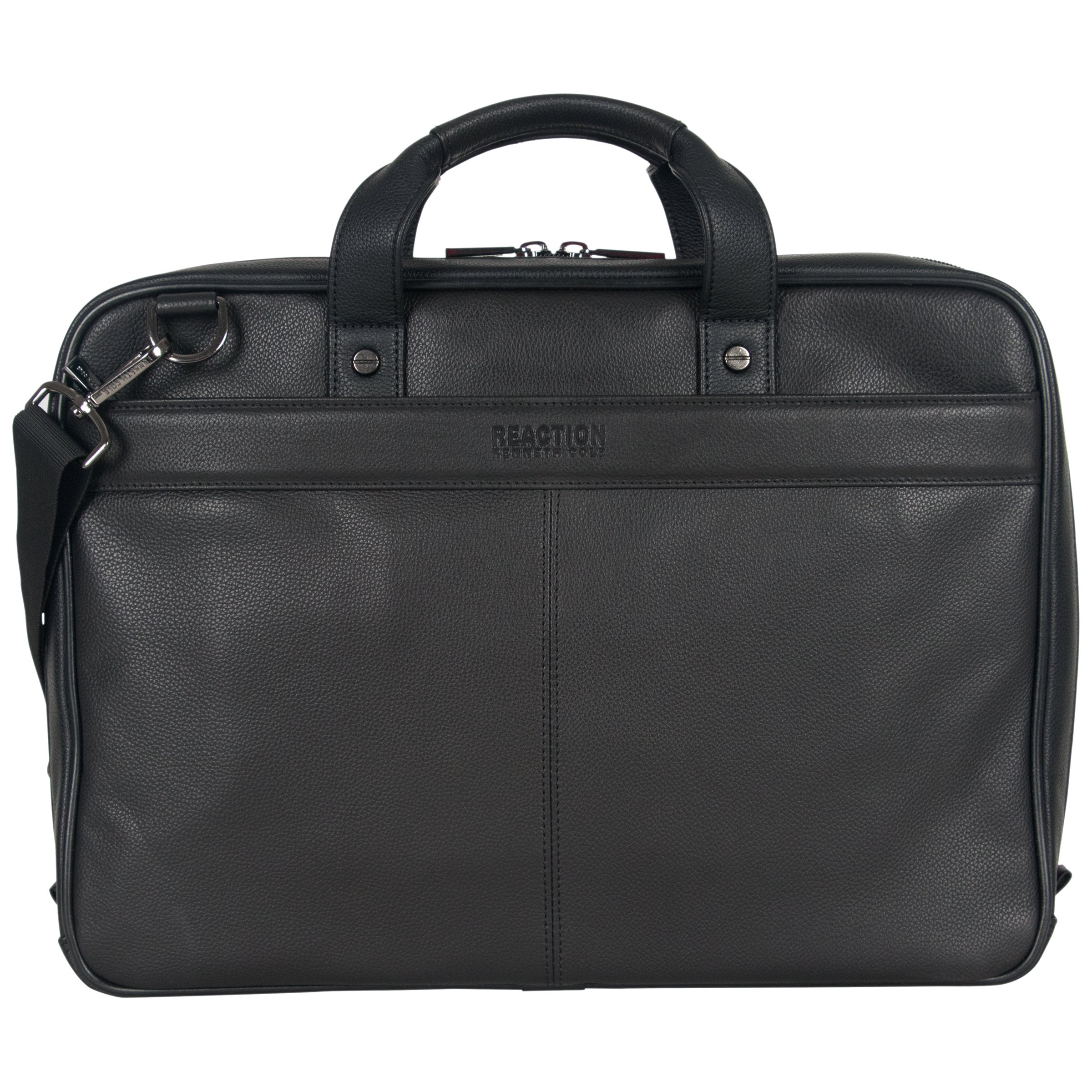 """Kenneth Cole Reaction Leather Slim Double Compartment Top Zip 15.0"""" Computer Business Case Laptop Briefcase, Black, One Size"""