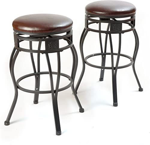 eHemco 29 Swivel Metal Barstool with Faux Leather Seat in Espresso Set of 2