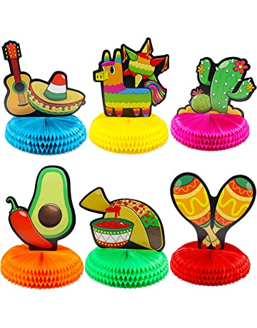 6 PCs Cinco De Mayo Fiesta Honeycomb Table Centerpiece 85 Party Decoration For Fun