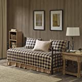 Woolrich Buffalo Check 5 Piece Day Bed Cover Set Tan Daybed
