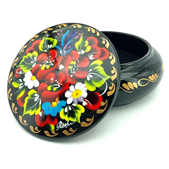 Amazon.com: UACreations Gift Jewelry Box for Earrings, Necklace, Rings, Round Wooden Case with Hand Painted Flowers on Black Lacquer, for Girls and Women, ...