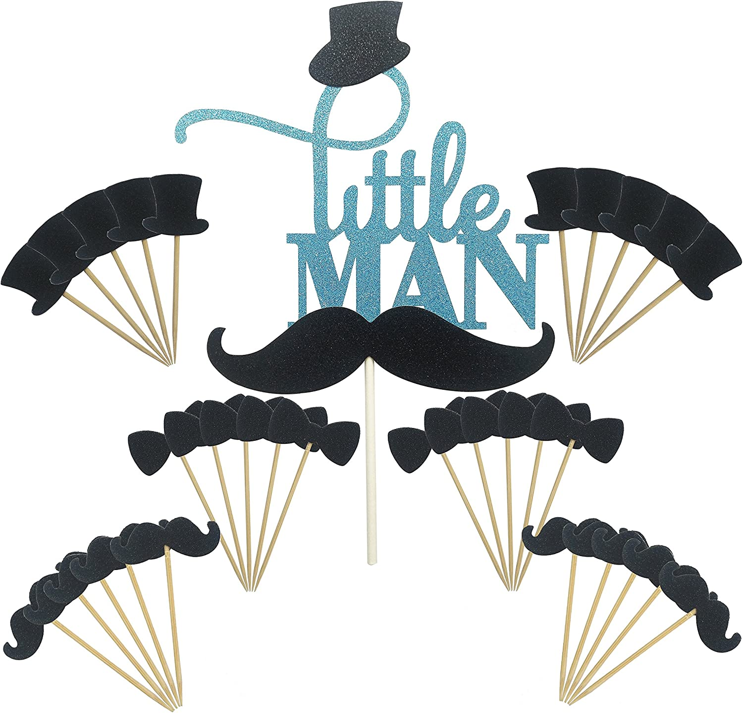 Maydolbone 31pcs Little MAN Cake Topper Mini Mustache Hat Bowtie Cupcake Picks For Baby Shower Birthday Party Decorations Supplies