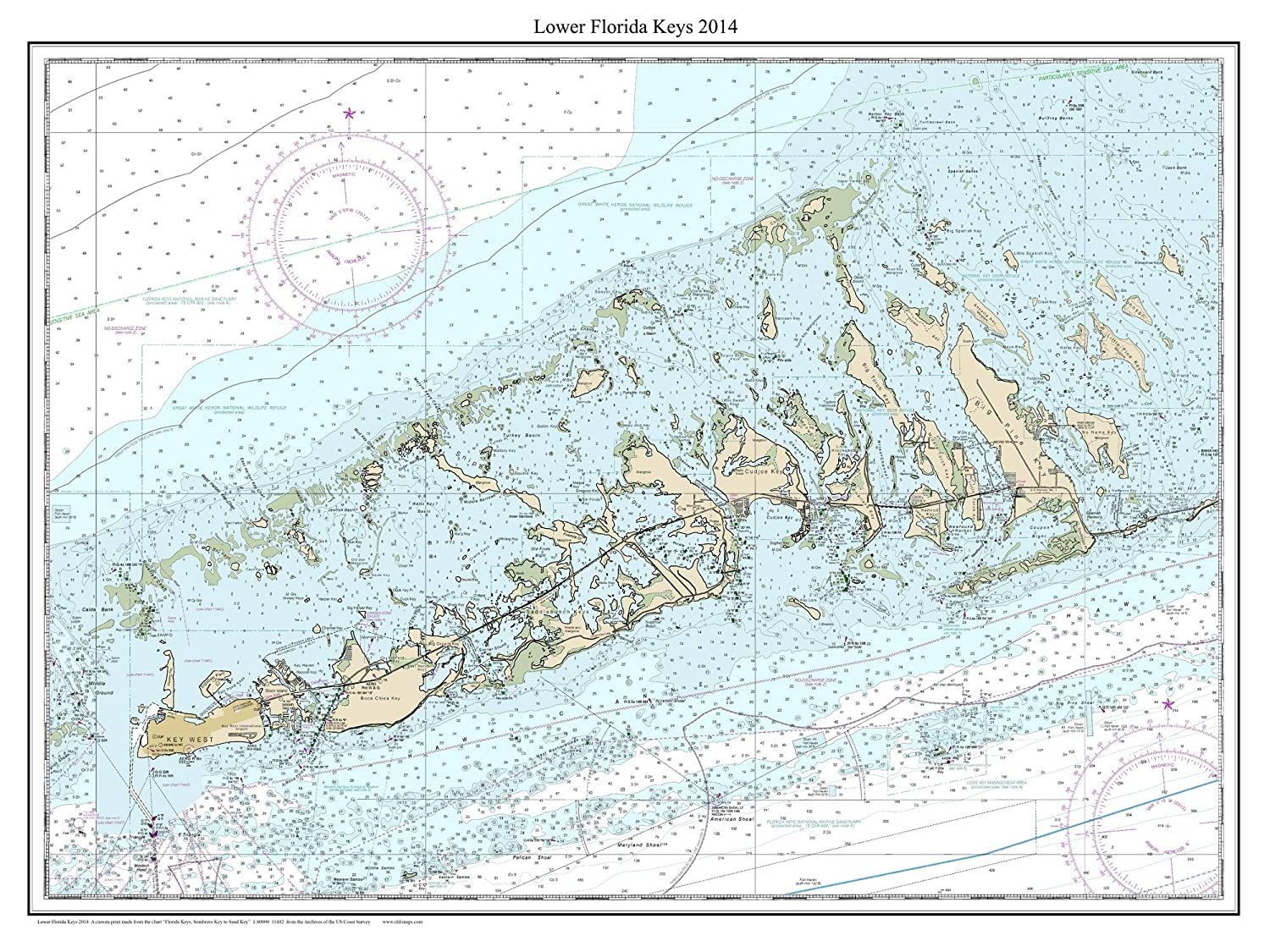 image relating to Printable Map of Florida Keys named : Small Florida Keys 2014 - Nautical Map Florida