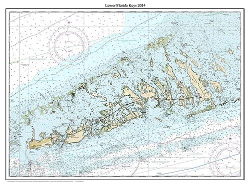 Printable Map Of Florida Keys.Amazon Com Lower Florida Keys 2014 Nautical Map Florida