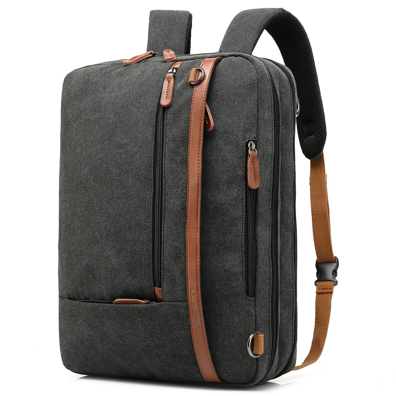 CoolBell umwandelbar Aktentasche Rucksack Messenger Bag Laptop Tasche Business Briefcase Mehrzweck Umhängetasche Reisen Handtasche Backpack passend 17, 3 Zoll für Herren/Damen (Canvas Dunkel Grau)