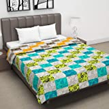 Divine Casa Floral Abstract Microfibre Reversible Double A/C Dohar/Blanket - Green and Yellow