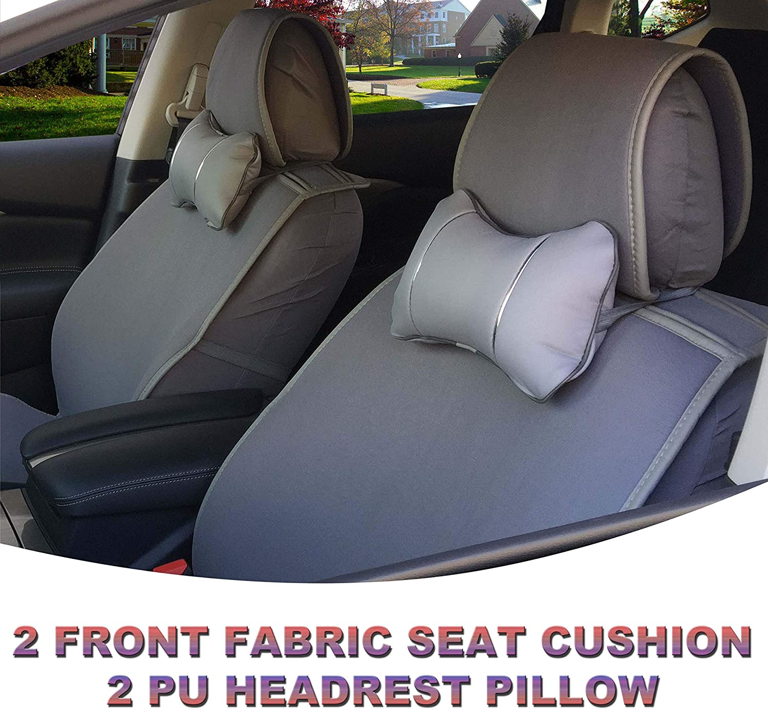 Deluxe Auto Car Front Seat Cover Cushion PU Leather Black//Red w//Pillows Size M