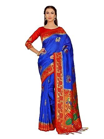 8312ef42a23ca0 Amazon.com  Mimosa Art Kuppdam Wedding Silk Saree Kanjivarm Style with Contrast  Blouse Color  Blue (4261-RPL-1-2D-RBLU-RD)  Clothing