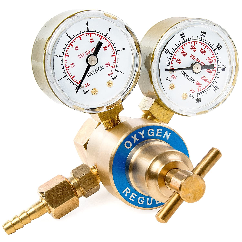 Dual Gauge Oxygen Solid Brass Regulator for Welding Victor Gas Torch Cutting - CGA540 Rear Mount Fitting KapscoMoto