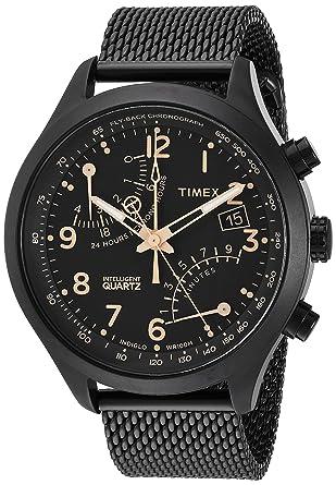 72ae9ad73151 Timex Men s TW2R55000 Intelligent Quartz Fly-Back Chronograph Black  Stainless Steel Mesh Bracelet Watch