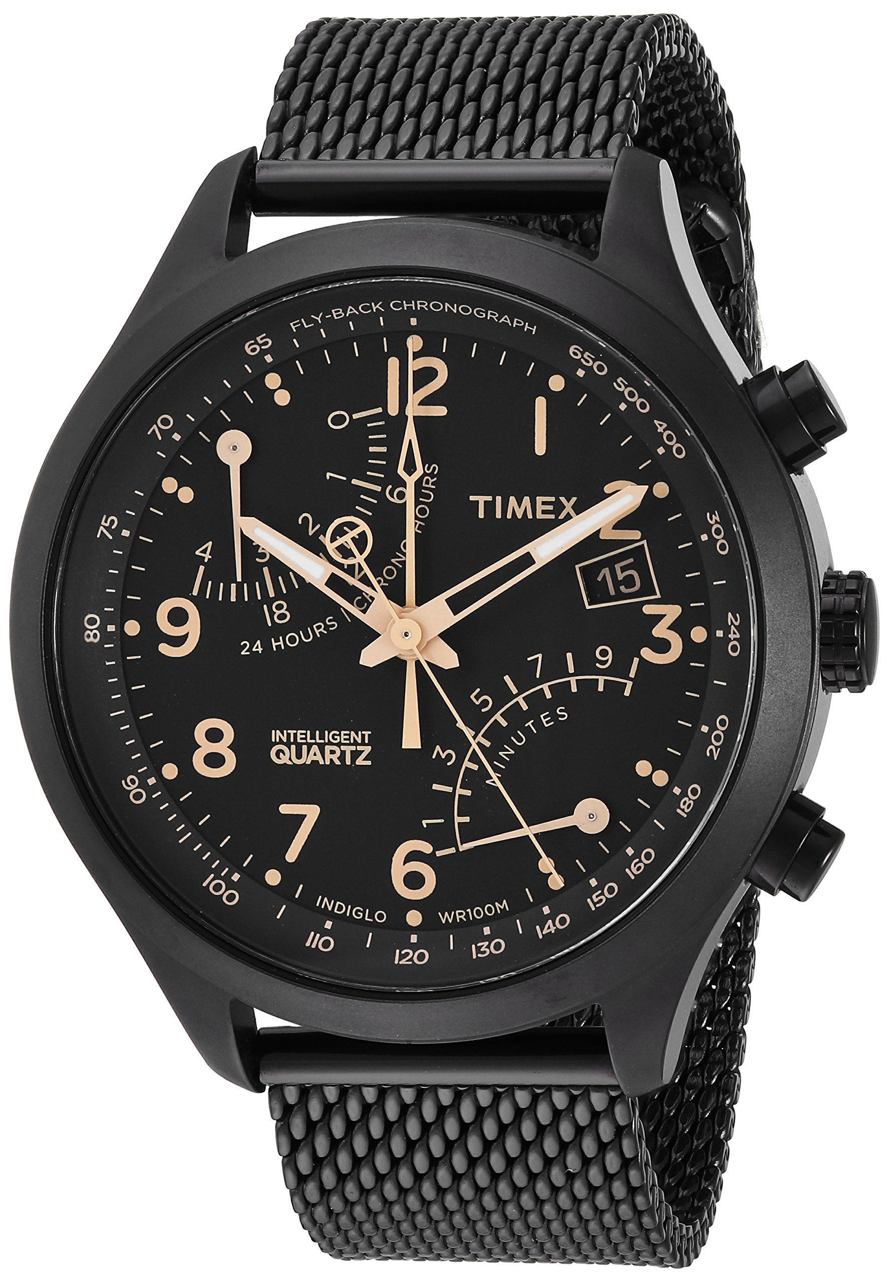Timex Men's TW2R55000 Intelligent Quartz Fly-Back Chronograph Black Stainless Steel Mesh Bracelet Watch by Timex