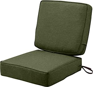 Classic Accessories Montlake Water-Resistant 25 x 25 x 5 Inch (seat)/25 x 22 x 4 Inch (back) Patio Cushion Set, Heather Fern Green