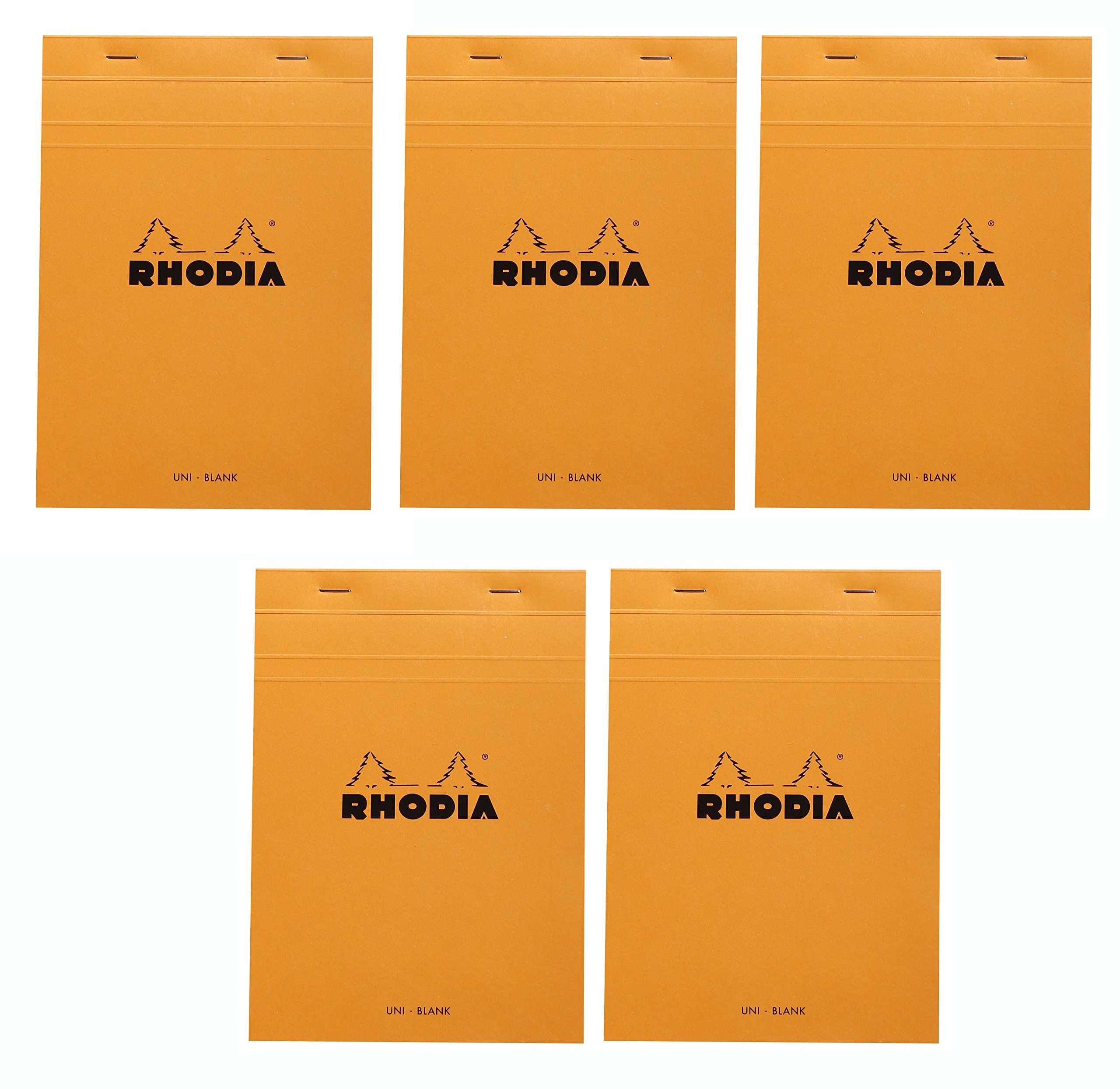 Rhodia Classic Orange Notepad blank - 6 in. x 8-1/4 in, Pack of 5 by Rhodia