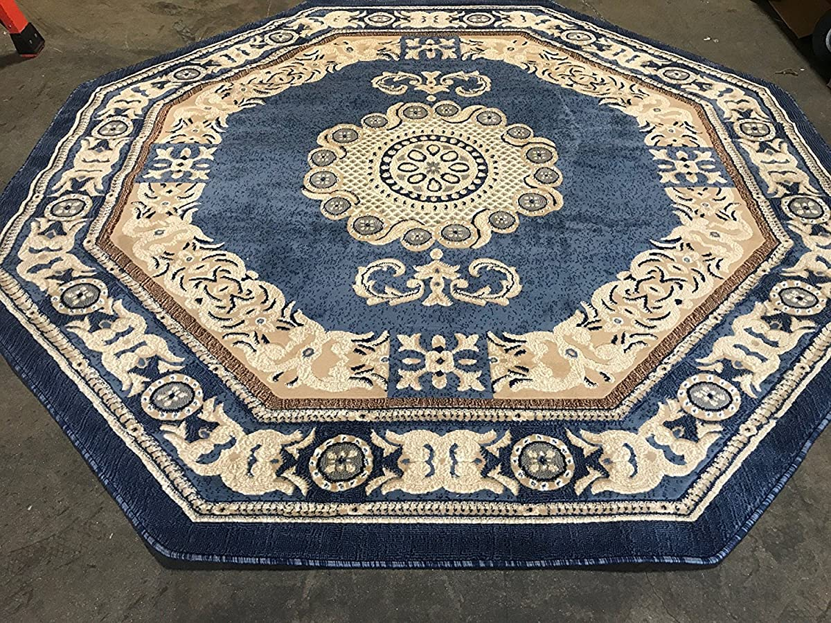 Traditional Octagon Persian Area Rug Light Blue Design 121 Americana (4 Feet X 4 Feet )