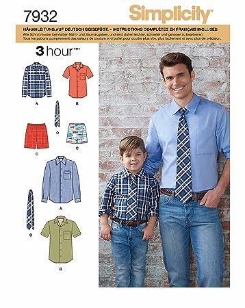 Simplicity 7932.A Schnittmuster Outfit mit Hemd, Hose und Kravatte ...
