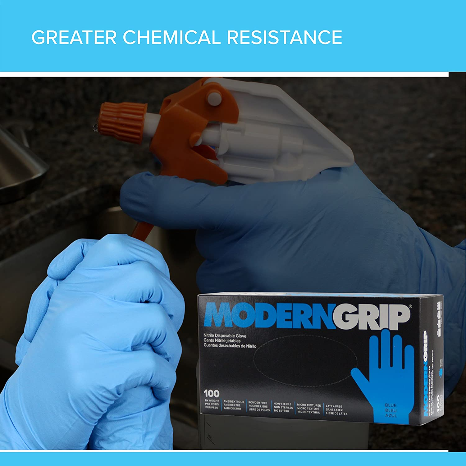 Modern Grip 16103-M Nitrile 6 mil Thickness Premium Disposable Gloves - Industrial and Household, Powder Free, Latex Free, Micro Textured for Superior Grip ...