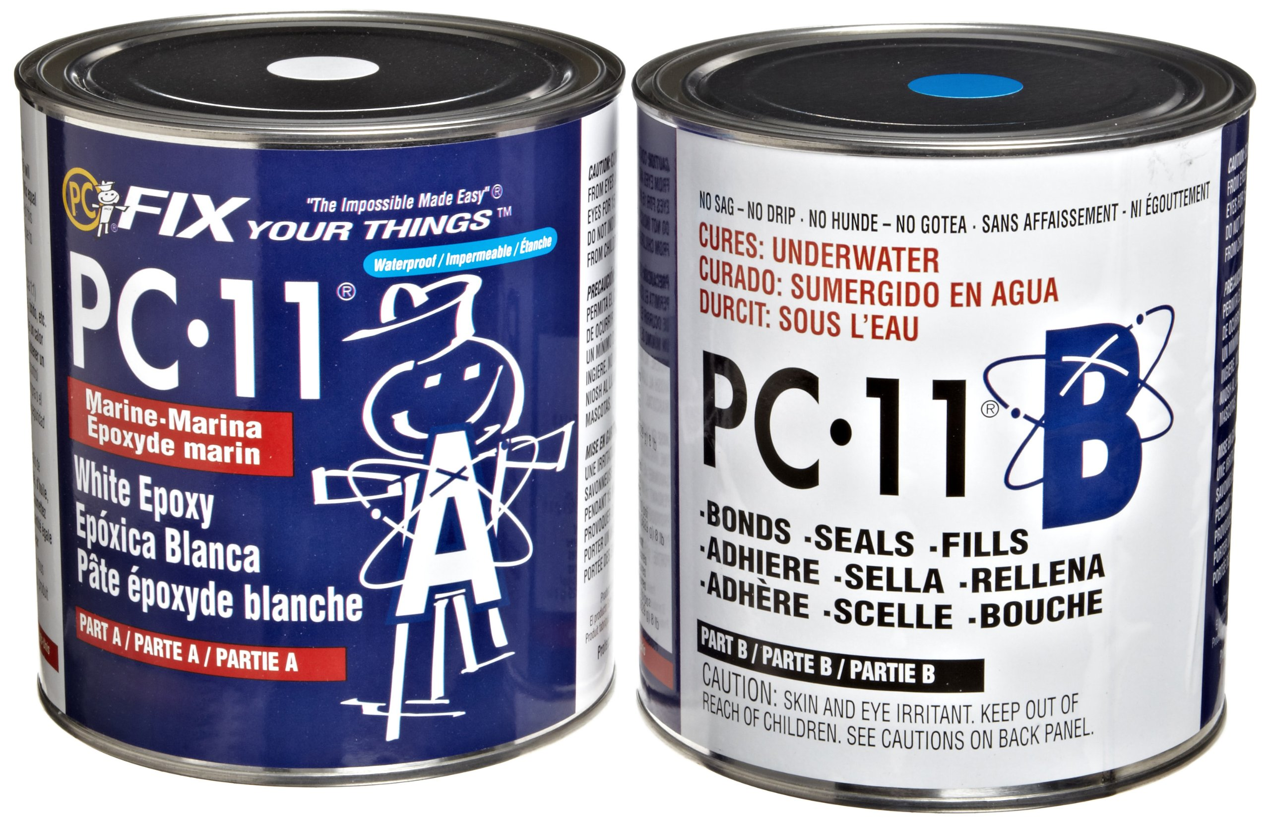 PC-Products PC-11 Epoxy Adhesive Paste, Two-Part Marine Grade, 8lb in Two Cans, Off White 128114