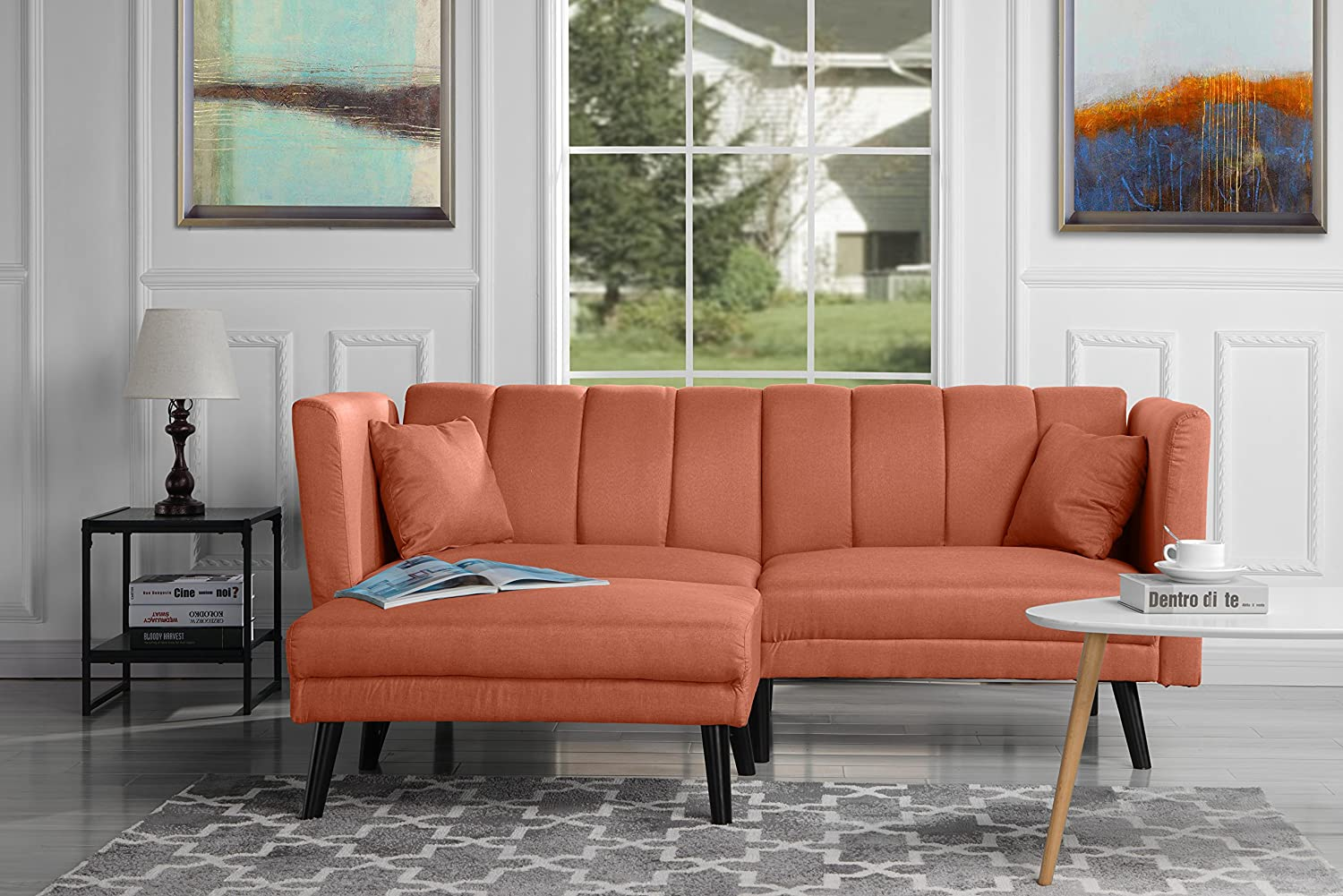 Mid Century Modern Linen Fabric Futon Sofa Bed, Living Room Sleeper Couch (Orange) by Divano Roma Furniture