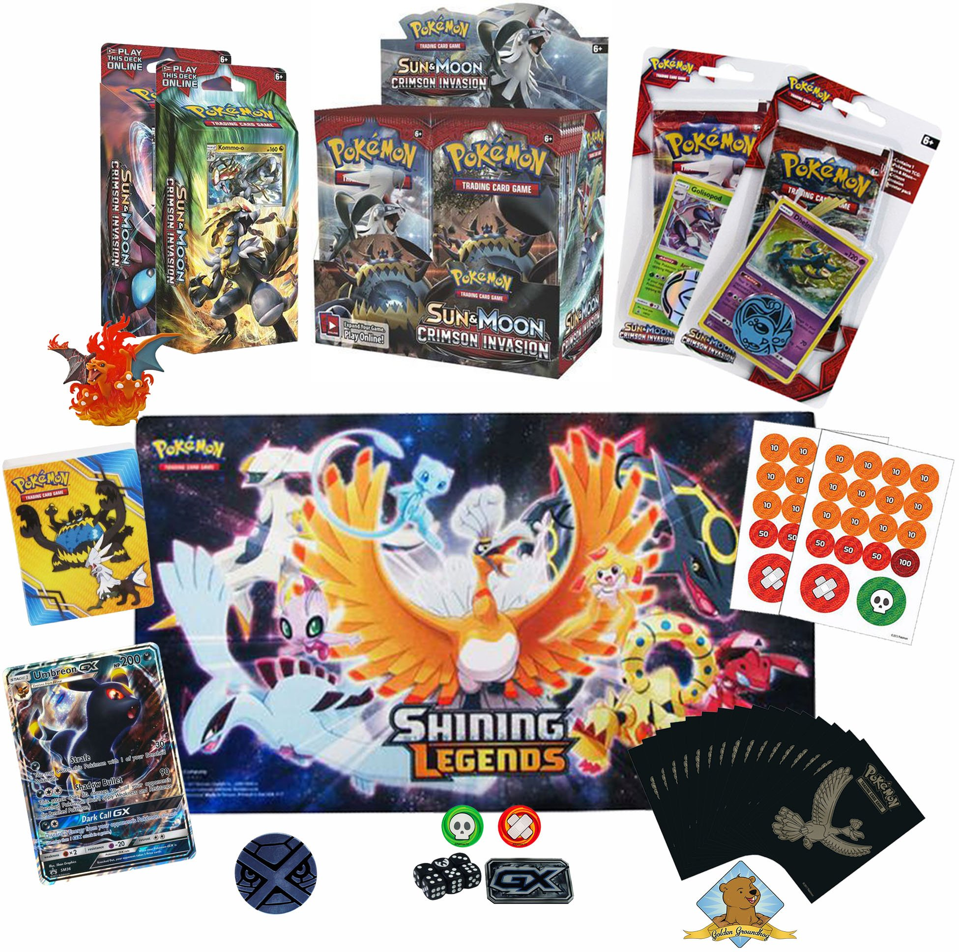 Pokemon Sealed Starter Lot - Pokemon Cards - Crimson Invasion Booster Box - Theme Deck - Pokemon Playmat Sleeves Coin Figure Dice Mini Binder and more! Great Holiday Gift! By Golden Groundhog!