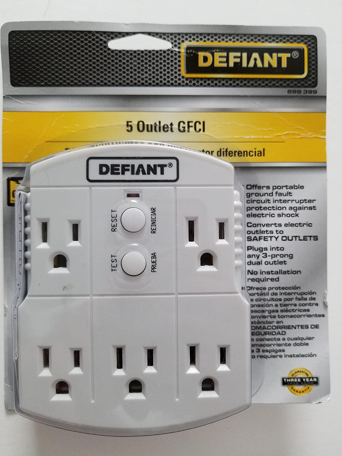 Defiant Gfci 5 Outlet Adapter Groundfault Circuit Interrupter Protects From Electric Shock