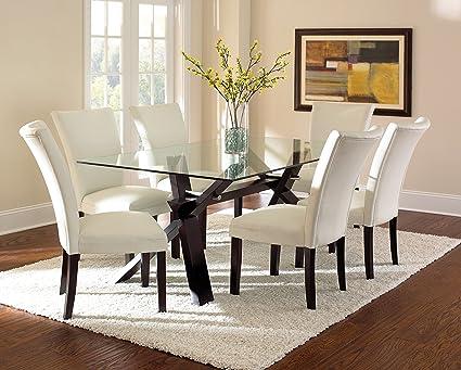 Amazon Com Steve Silver Company Berkley Glass Top Dining Table