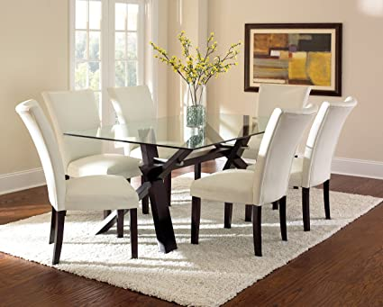 Steve Silver Company Berkley Glass Top Dining Table, 42u0026quot;W X 72u0026quot;L