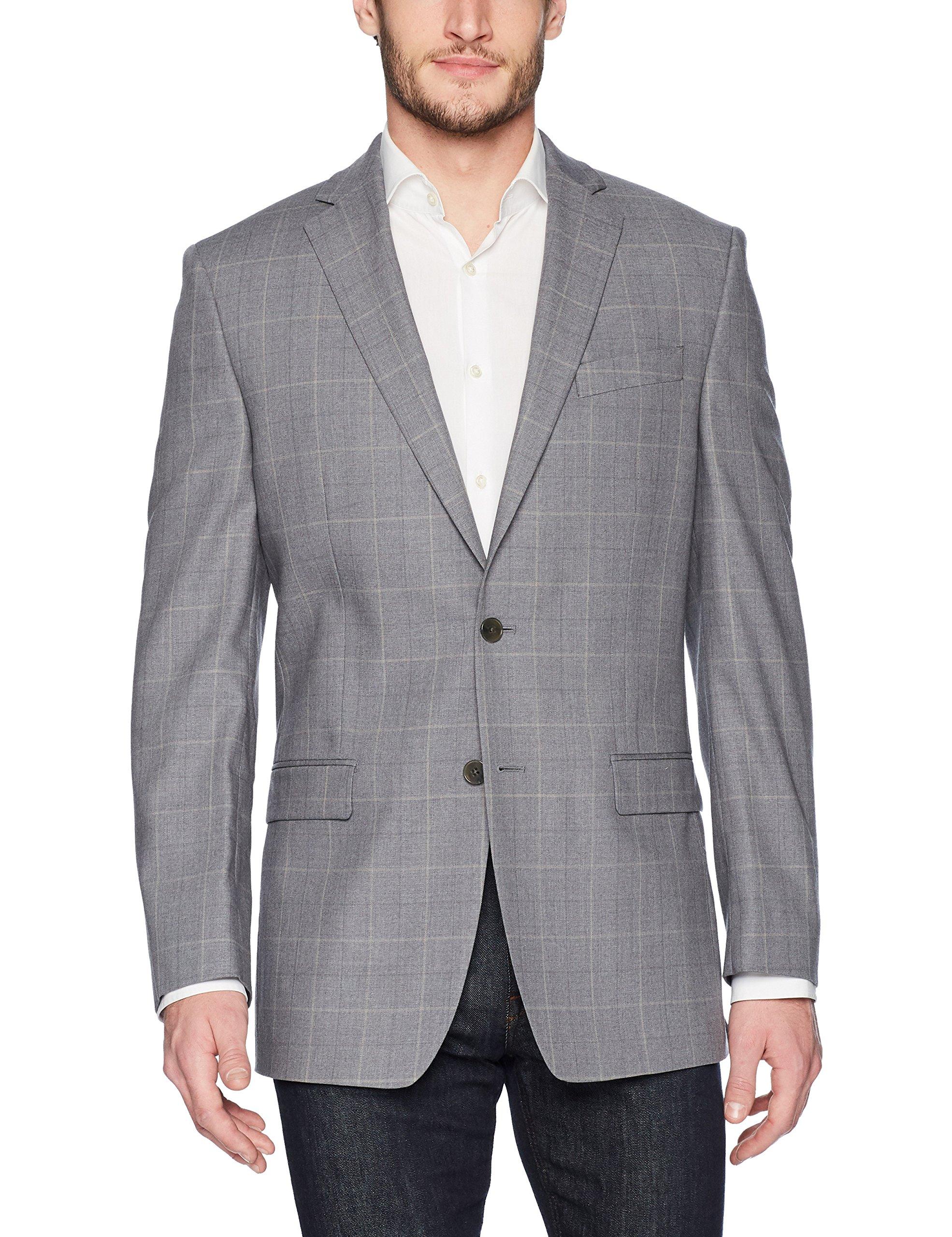 Calvin Klein Men's Malik Slim Fit Single Breast 2 Button Blazer, Gray/Cream, 40 Regular
