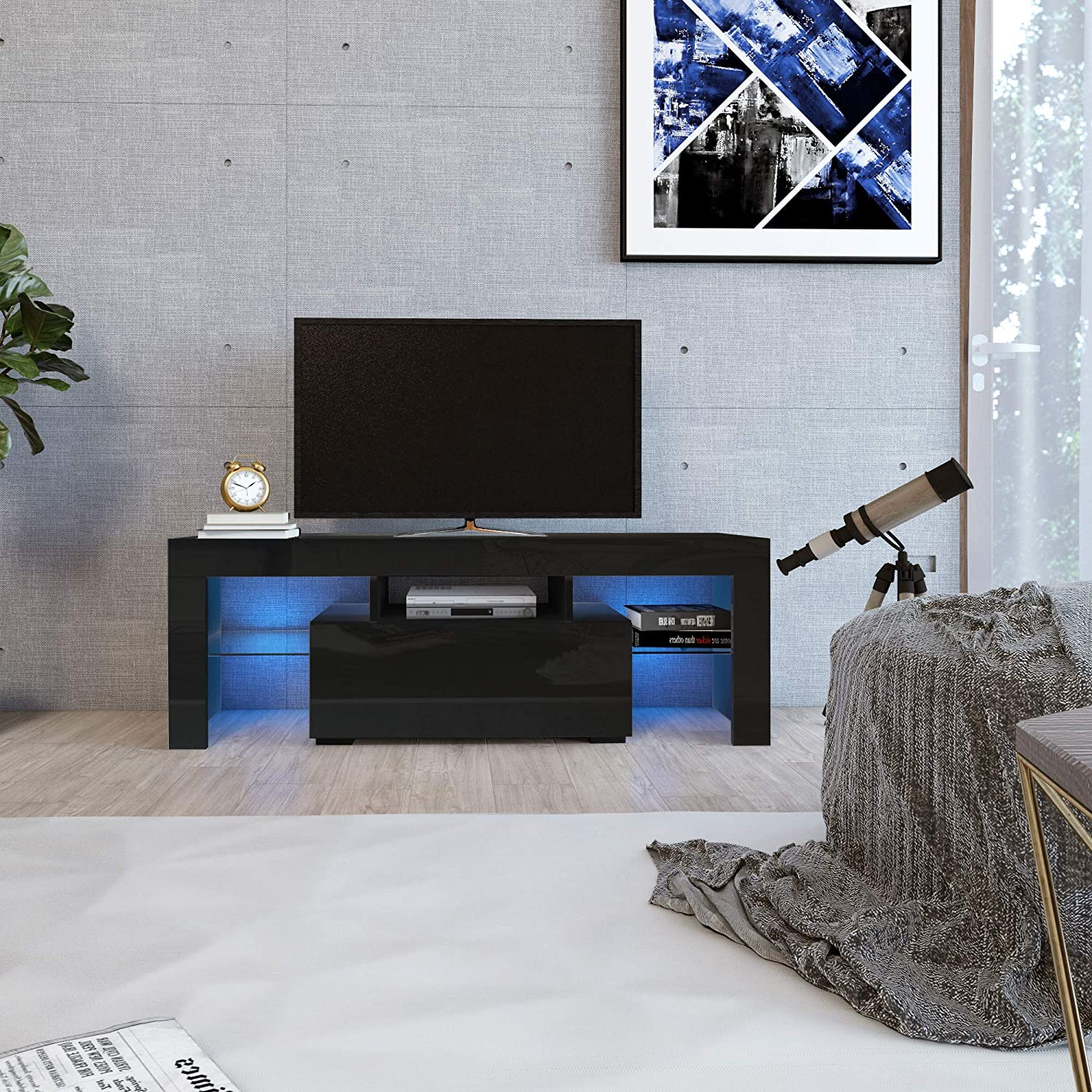 DMAITH TV Stand with LED Lights, 1 Drawer and Open Shelves High Gloss Entertainment Center Media Console Table Storage Desk for Up to 60 Inch TV, Black (002B)