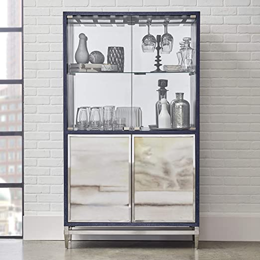 Amazon Com Modern Navy Blue Finish Mirrored Home Bar Cabinet Clear Contemporary Glass Veneer Wood Painted Silver Home Kitchen,Portable Kitchen Island With Pot Rack