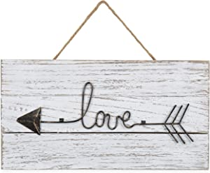 MyGift 12-Inch Whitewashed Wood & Metal Wire Hanging Love Sign