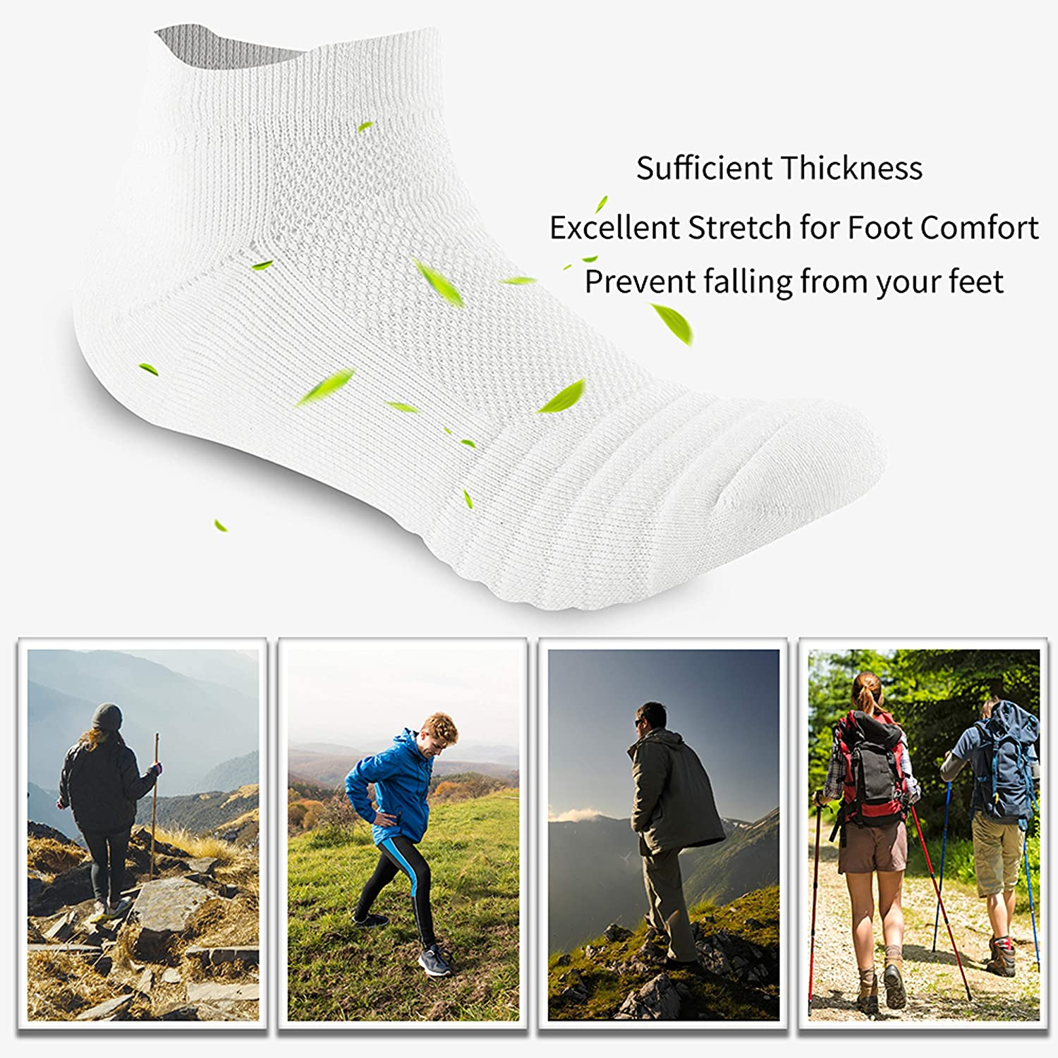 SUNWIND Sport Socks Unisex 6 Pairs Performance Running Low Cut Ankle Athletic Trainer Breathable Cotton Socks for Man /& Women